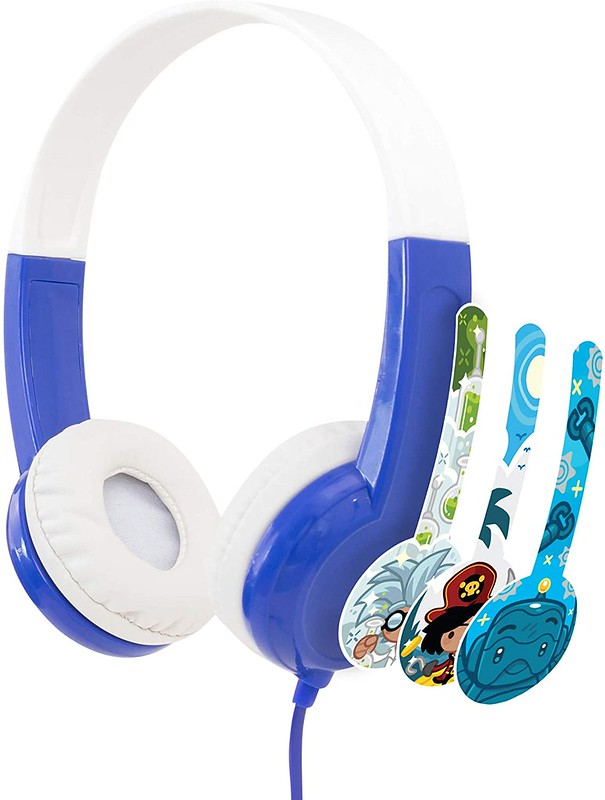 White and blue headphones for kids.