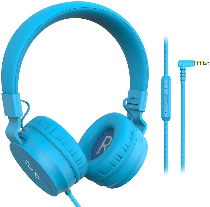 Bright blue wired over-ear headphones.