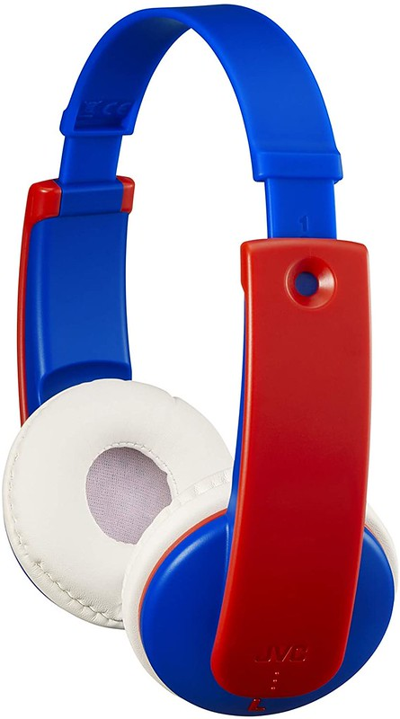 Red, white and blue JVC headphones.