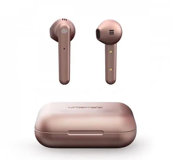 Rose gold in-ear headphones.