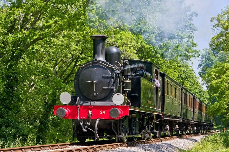 Steam train moving along the tracks with trees on either side.