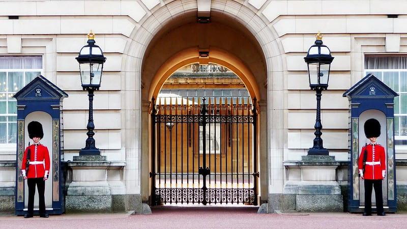Guards outside Buckingham Palace.