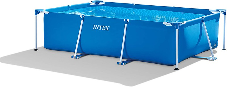 The Intex Rectangular Metal Pool with a rectangular metal frame and puncture-resistant material.