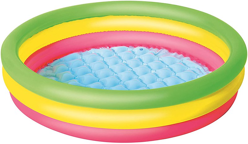 The Bestway Summer Set Paddling Pool in green, yellow and pink.