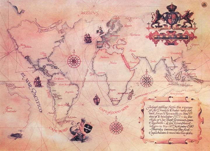 Pirate's map of the world marking where there is treasure to be found.