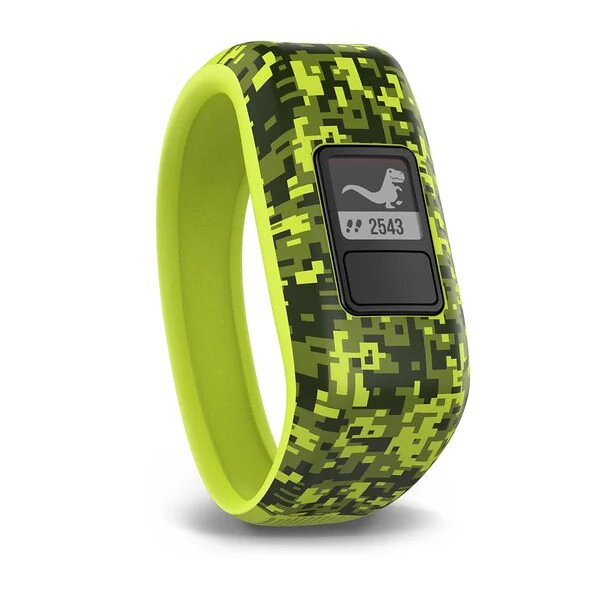 Green Garmin VivoFit Jr 2 smart watch.