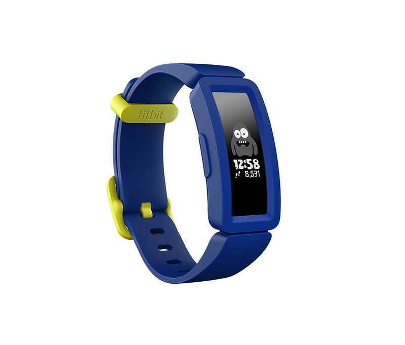 Blue and yellow FitBit Ace 2.