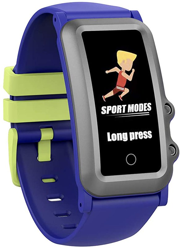 Blue and yellow Aupalla Kids Fitness Tracker.