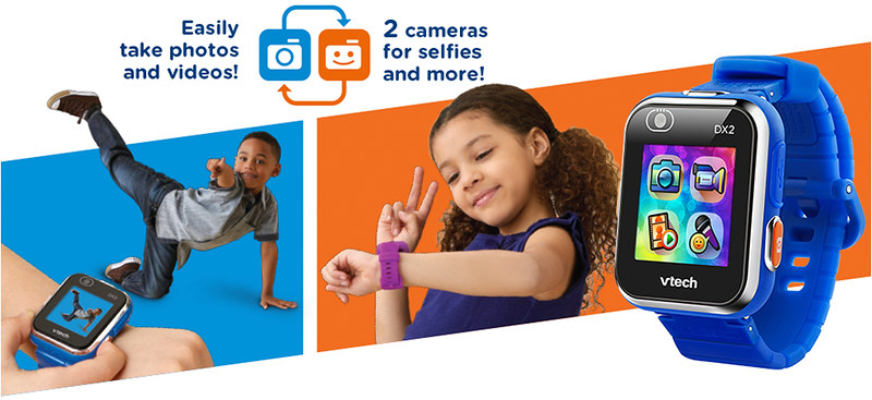 Kids modelling the VTech Kidizoom Smartwatch DZ2.