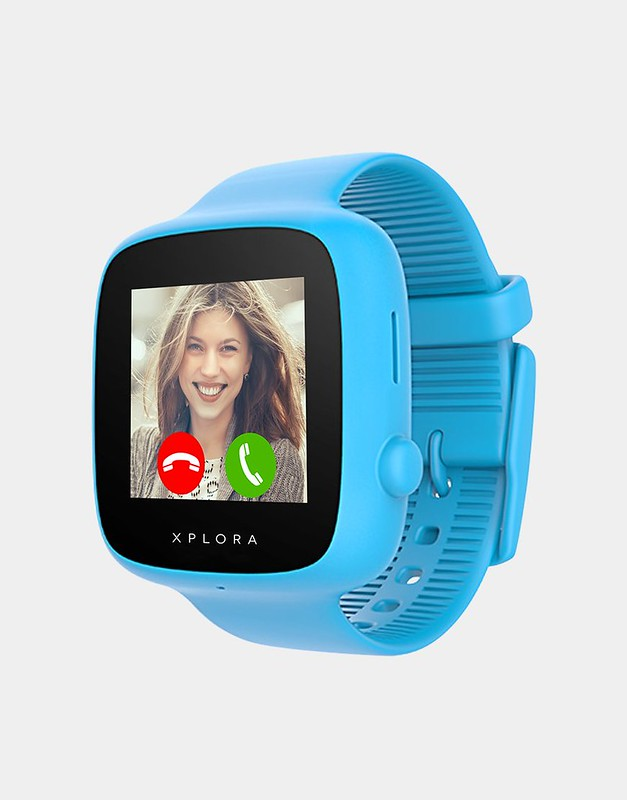 Light blue Xplora Go kids smart watch.