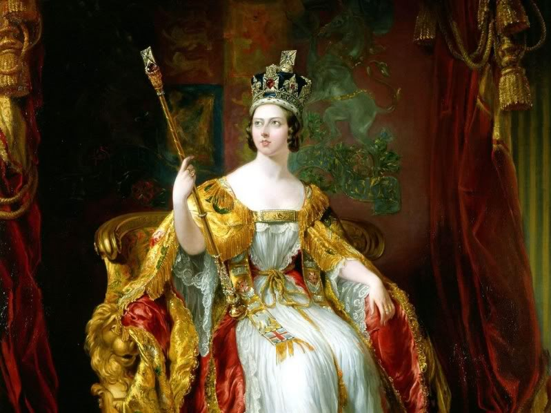 Portrait of younger Queen Victoria after her coronation, wearing the crown and holding the staff.
