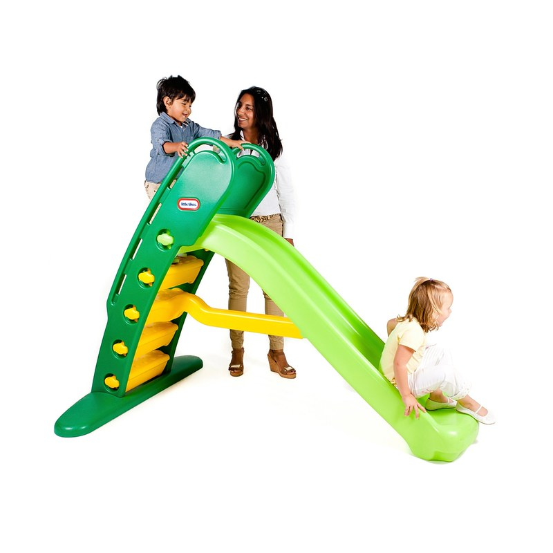Mum and child playing on the Little Tikes Giant Slide.