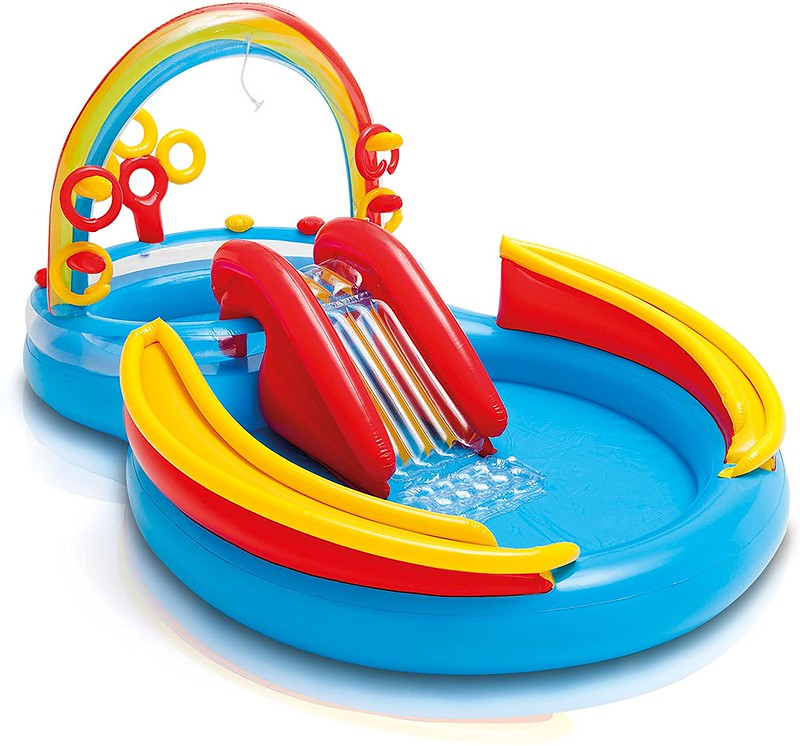 The Intex Rainbow Ring Toddlers Play Centre includes a pool, slide and ring toss game.