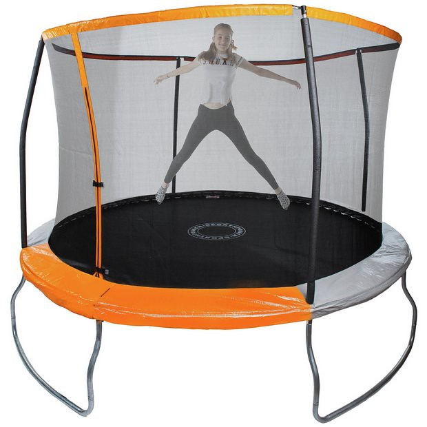 Older child playing on a Sportspower Outdoor Kids 8ft Trampoline With Enclosure.