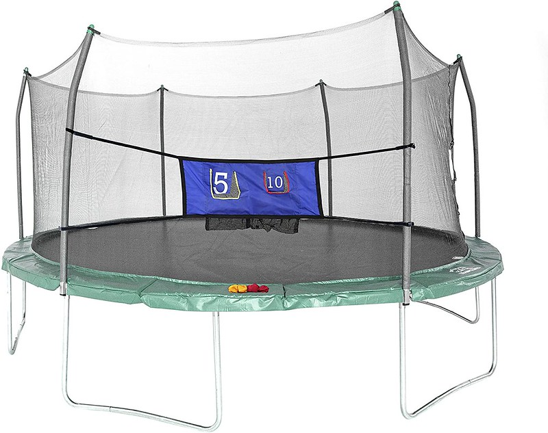 An oval-shaped Skywalkers Oval Trampoline With Enclosure.