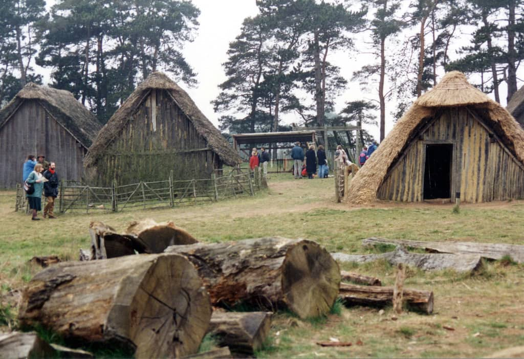 Huts in a display Anglo-Saxon village.