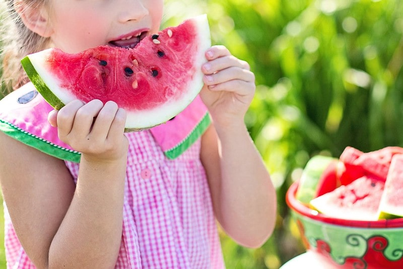Girl in a pink top with a watermelon collar eating a slice of juicy watermelon.