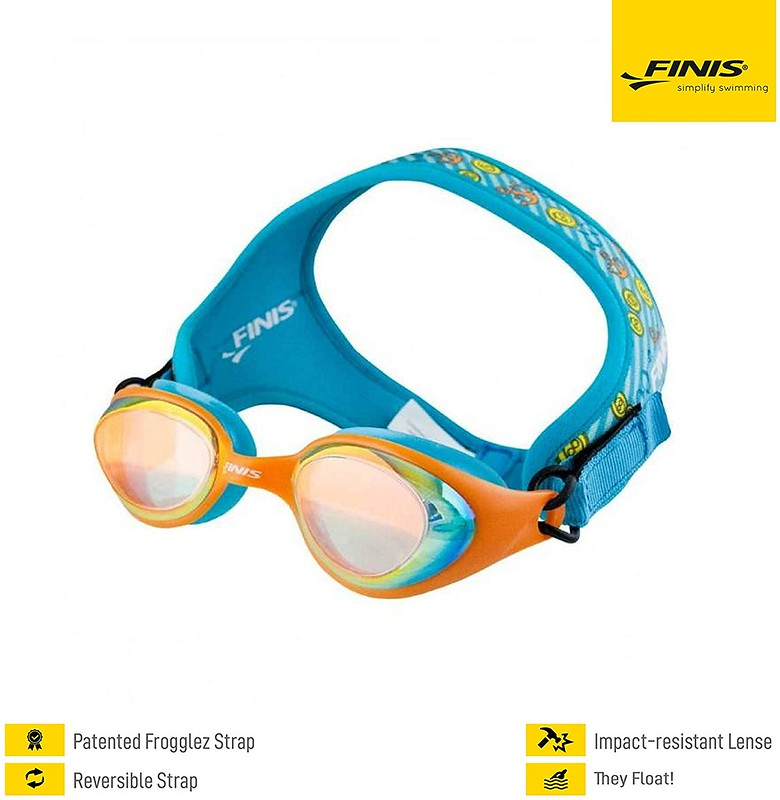 Finis Frogglez Goggles in a blue and sea themed pattern.