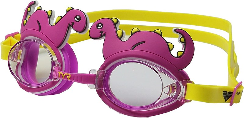 Purple and yellow dinosaur-themed TYR Kids Character Goggles.