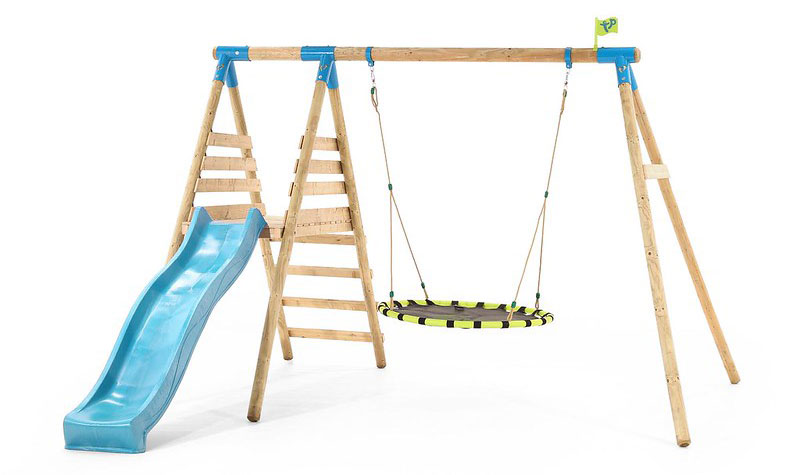 TP Fordland Kids Deck Set has a slide and nest swing.