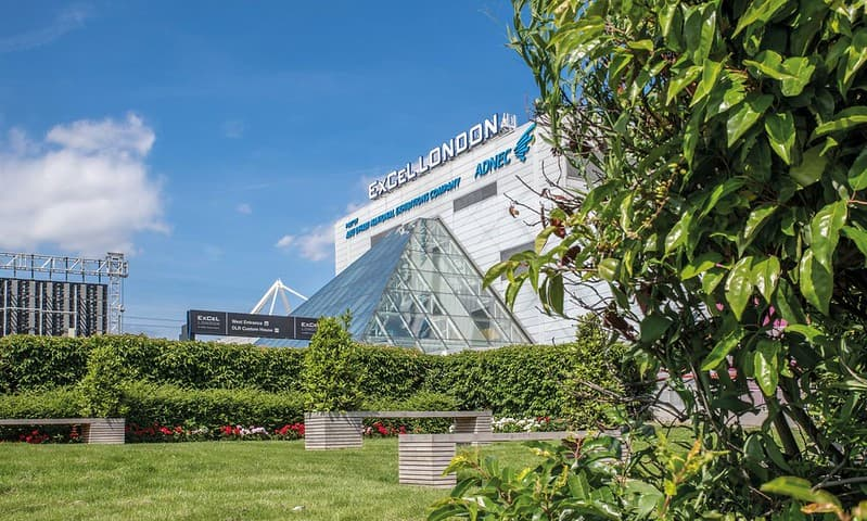 Exterior of the ExCeL London Centre.