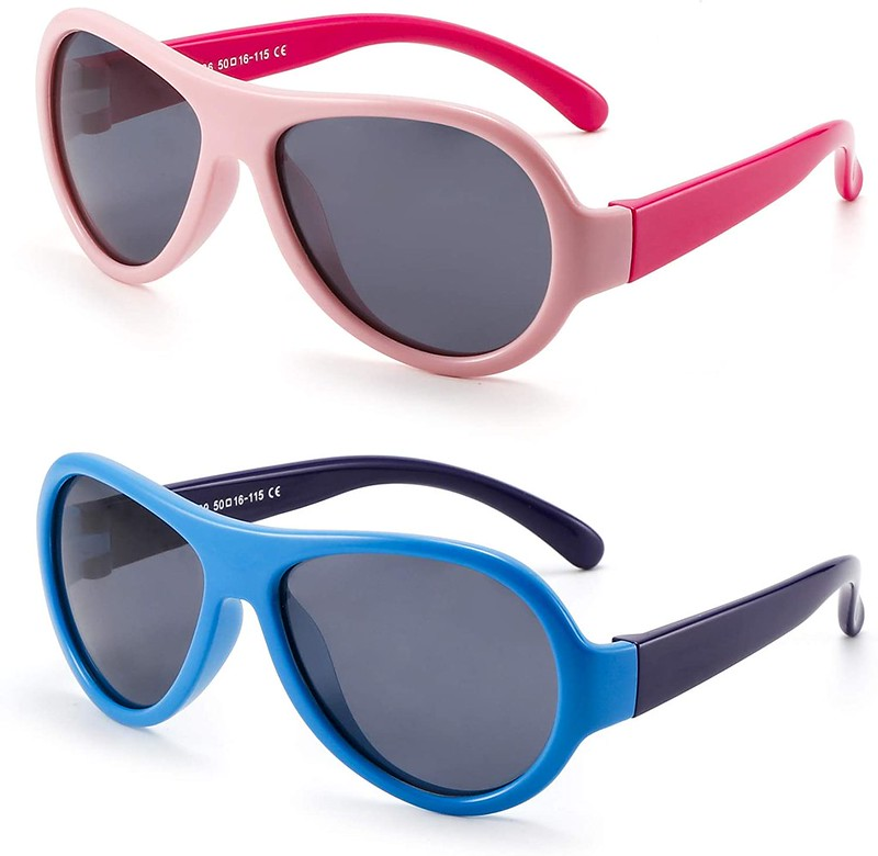 Pink or blue JM Kids Rubber Sunglasses.