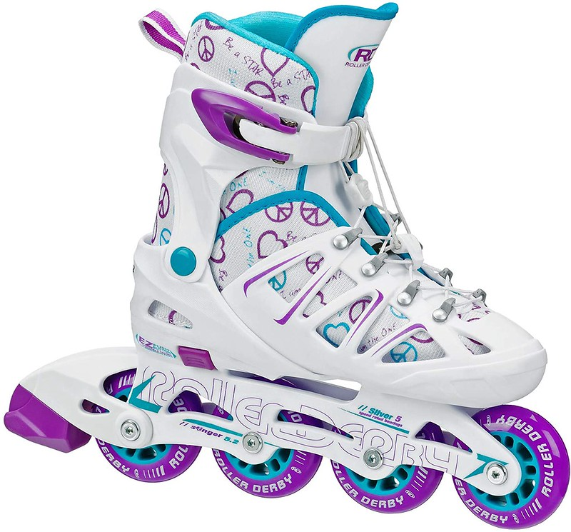 White Roller Derby Adjustable Inline Skates with purple and blue accents.