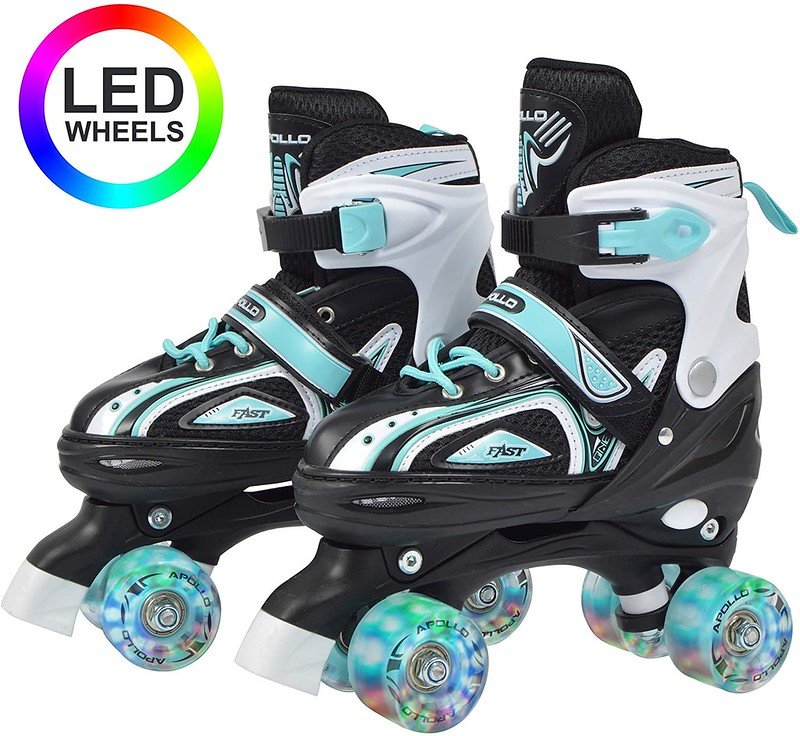 White and blue and black Apollo Super Quad X Pro Roller Skates, with LED wheels.