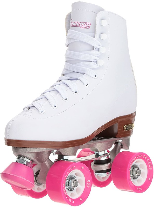 White and pink Chicago Classic Roller Skates.