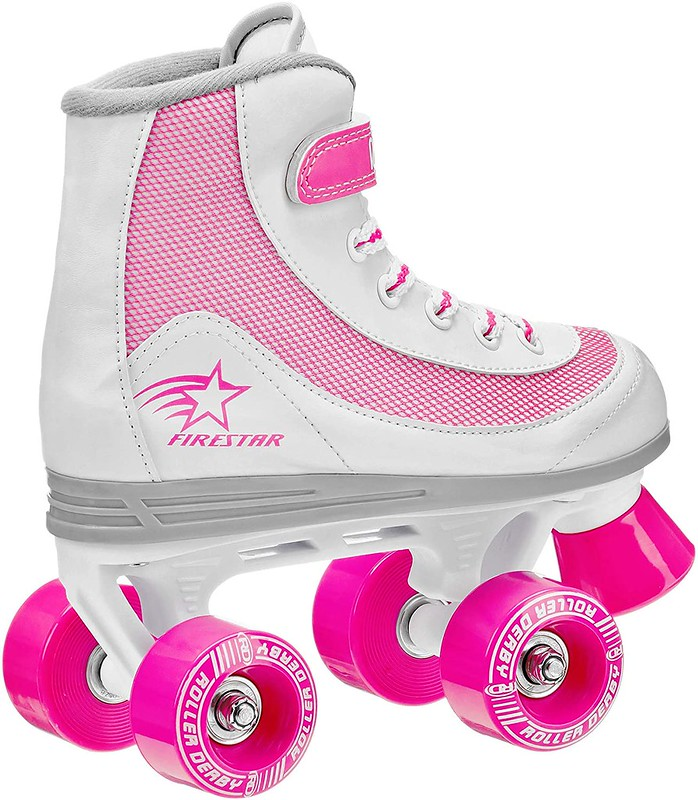 Pink and white rollerskates.