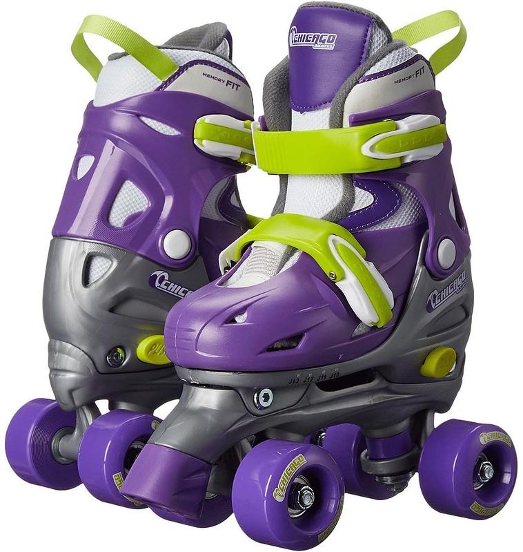 Chicago Kids Quad Adjustable Roller Skates in purple and green.