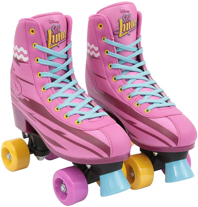 Pink Soy Luna skates with yellow accents and pale blue laces.