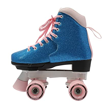 Glittery blue skates with pink laces and wheels.