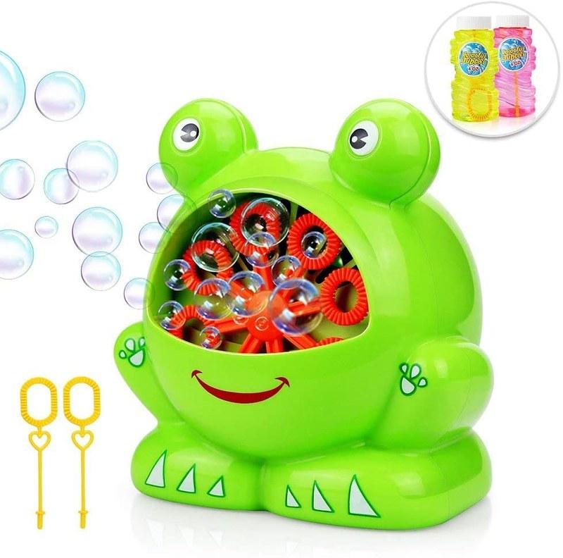 Green frog-shaped bubble machine.