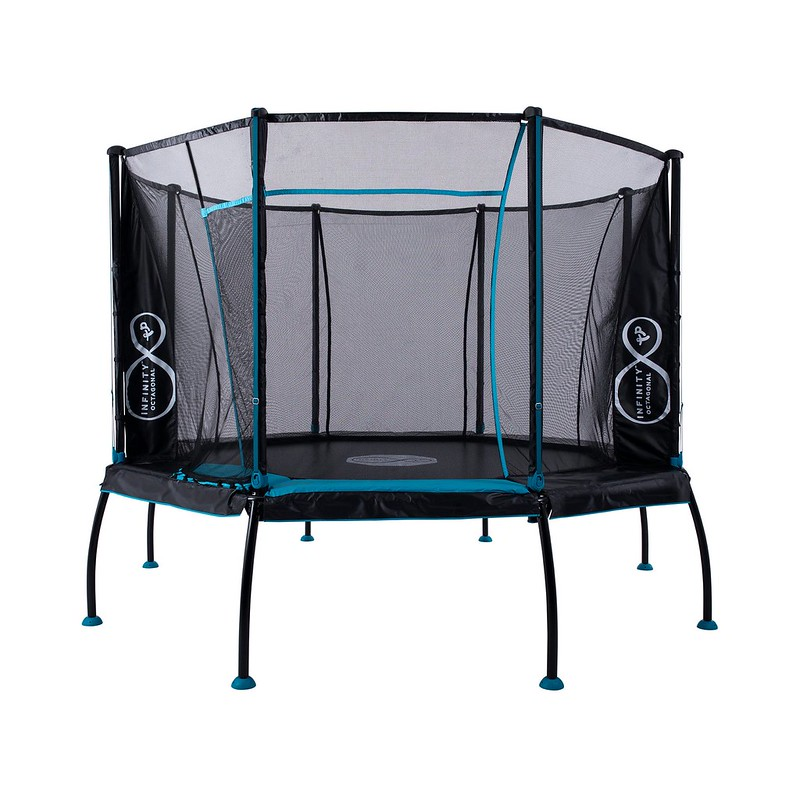 Large octagonal trampoline with a net.
