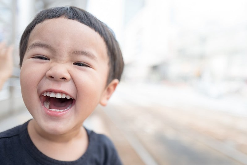 A young boy laughing a lot at corny jokes.