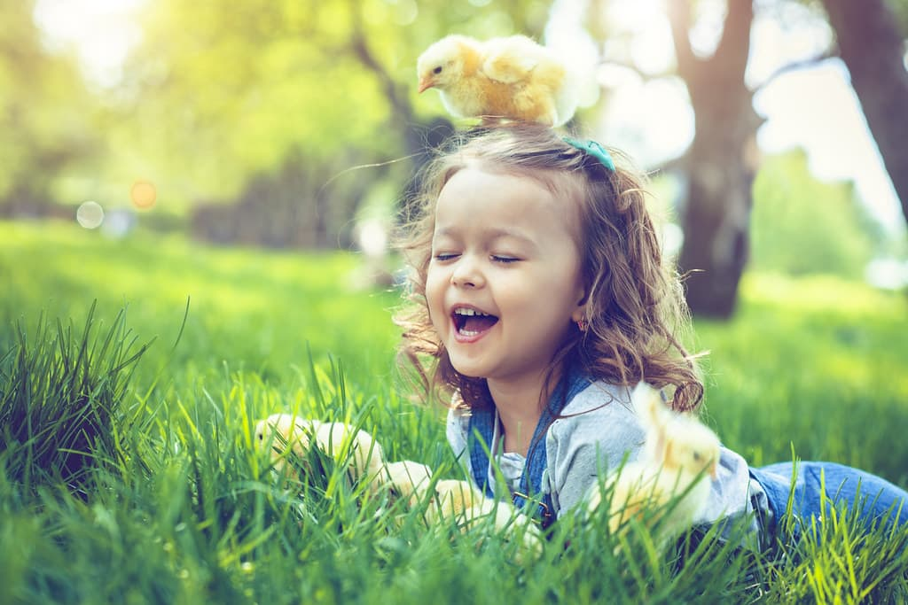 Little girl lying on the grass laughing because there's a chick on her head.