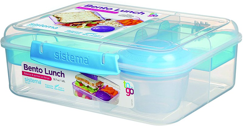 Light blue Sistema Bento Lunch Box To Go.