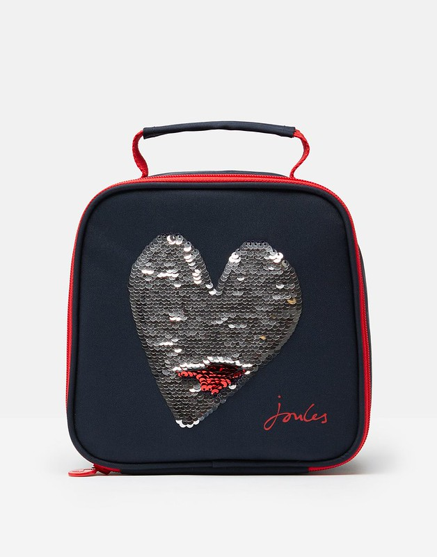 Black and red Joules Sequin Heart Lunch Bag.