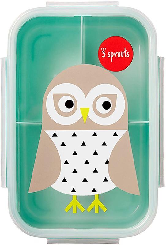 3 Sprouts Designed Kids Bento Box with owl on the front.