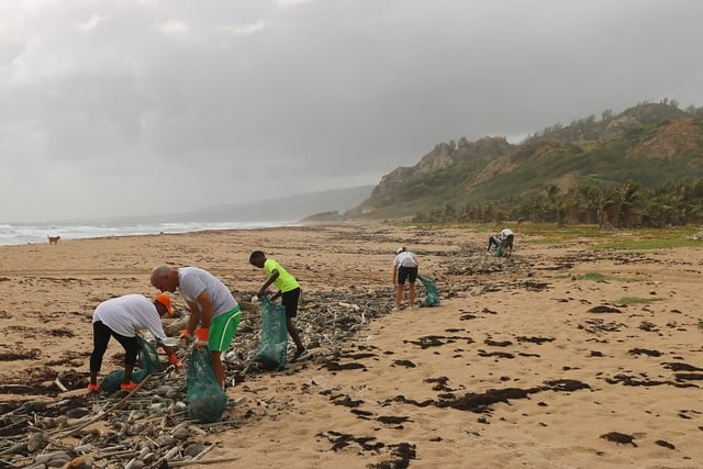 Beach community cleaning up all the rubbish and plastic that as washed up from the sea.