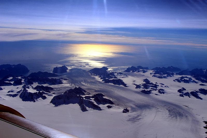 Aerial view of the ice-sheet in Greenland melting in summer.