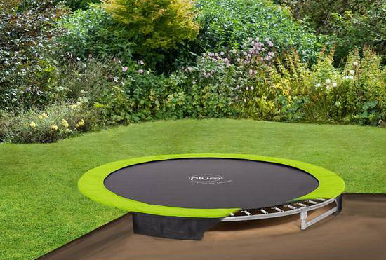 A budget-friendly In Ground Trampoline in the garden.