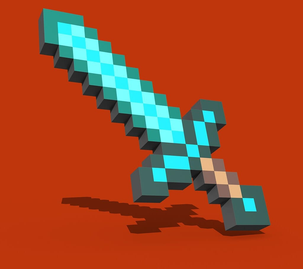 A pixelated blue Minecraft sword against a red background.