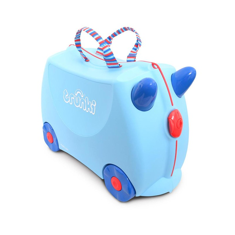 A blue George Special Trunki Ride-On Suitcase.