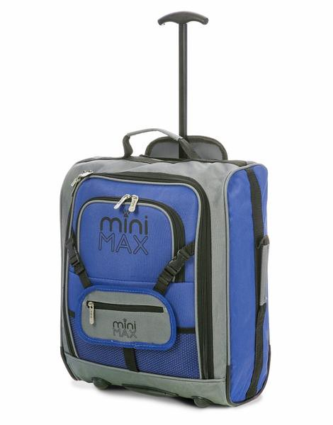A grey and blue Minimax Kids' Cabin pull along suitcase.
