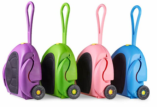 Four CarGoSeat cases all in different colours (purple, green, pink and blue).