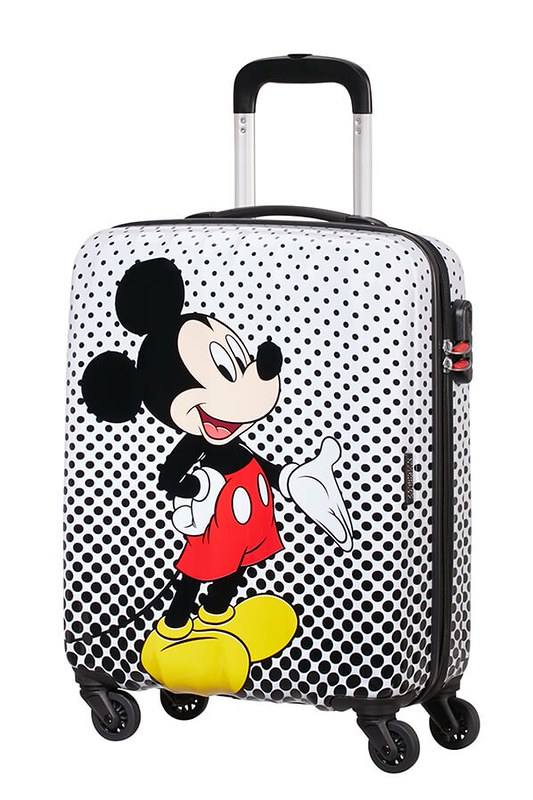 White and black polka dot wheel-along suitcase with Mickey Mouse on the front.