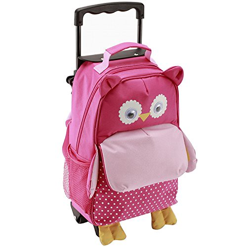Pink owl design Yodo Convertible Rolling suitcase.