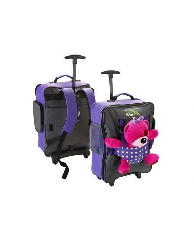 Purple Cabin Max suitcase with built in pants for a favourite teddy to slip into.
